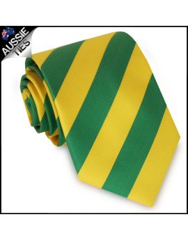 Mens Green & Yellow Stripes Sports Tie
