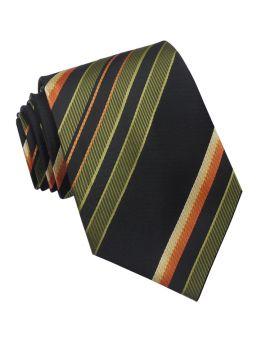 Green Black Orange Yellow Stripes Mens Tie