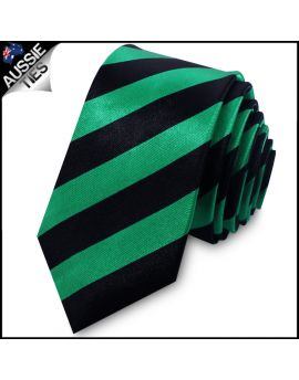 Green & Black Men's Striped Skinny Tie