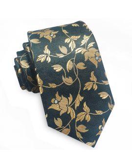 Dark Green with Gold Floral Slim Tie
