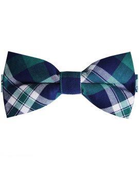 Green, Blue & White Tartan Bow Tie