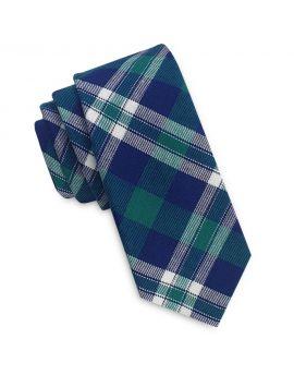 green, blue and white tartan skinny tie