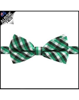 Boys Green, Black and White Check Bow Tie