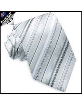 Grey Silver with White Stripes Mens Necktie