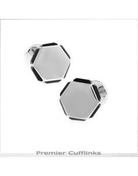 Hexagonal with Black Edged Insets Cufflinks