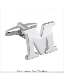 Single Initial M Silver Cufflink