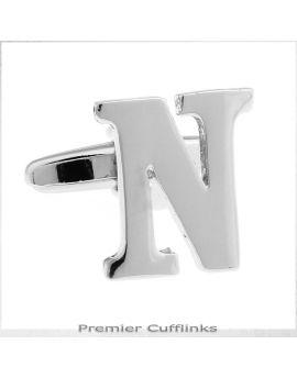 Single Initial N Silver Cufflink