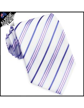 Ivory with Blue, Violet, & Indigo Stripes Tie
