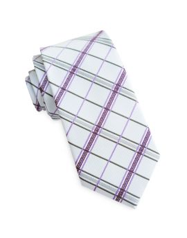 Ivory with Purple & Grey Plaid Slim Tie
