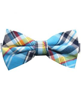 Light Blue, Red, Yellow & White Tartan Bow Tie