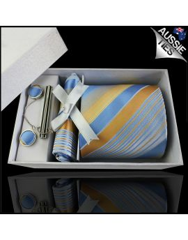 Light Blue, White & Gold Stripes Tie Set