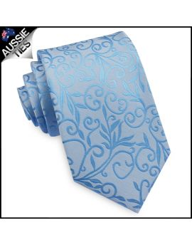 Light Blue Floral with Highlights Mens Necktie