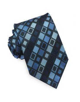 Light & Dark Blue Retro Squares Mens Tie