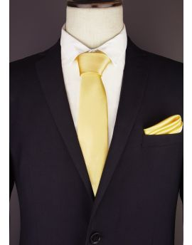 Mens Light Gold Yellow Plain Necktie