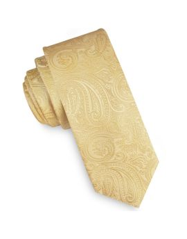 Light Gold Paisley Mens Skinny Tie
