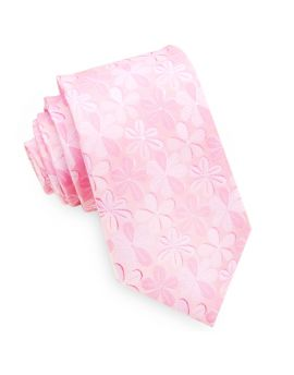 Light Pink with Floral Men's Slim Tie