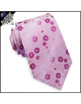 Light Pink with Pink & Fuschia Floral Mens Necktie