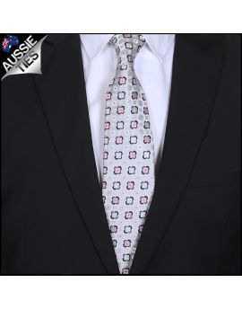 Light Silver & Pink Floral Mens Tie