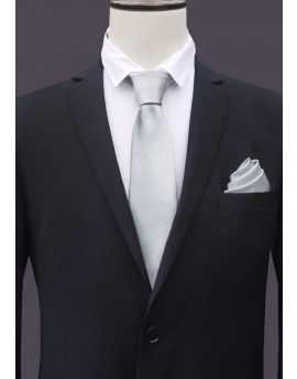 Mens Light Grey Silver Tie