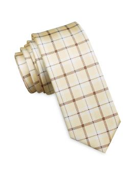 Light Yellow Gingham Check Mens Skinny Tie