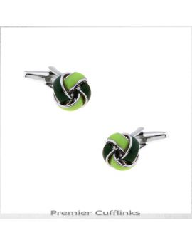 Lime and Forest Green Knot Cufflinks