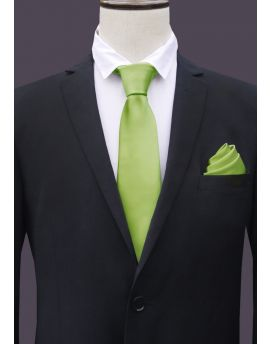 Lime green tie and pocket square