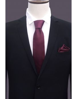 maroon tie and pocket square