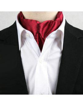 Men's Scarlet Red Interlocking Design Ascot Cravat