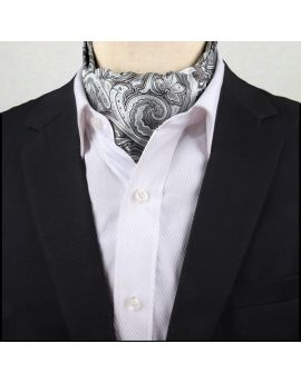 Men's Silver Paisley Ascot Cravat