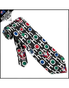 Mens Black Ho Ho Ho Christmas Necktie