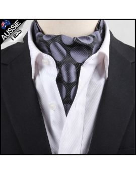 Men's Black Pin Dot with Grey Circles Ascot Cravat
