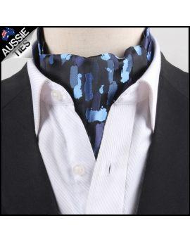 Men's Black with Blue Paint Ascot Cravat