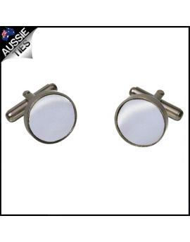 Mens Mid Silver Cufflinks
