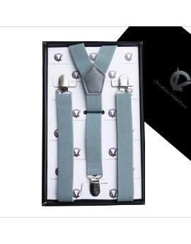 Men's Mid Grey Braces Suspenders Y2.5cm
