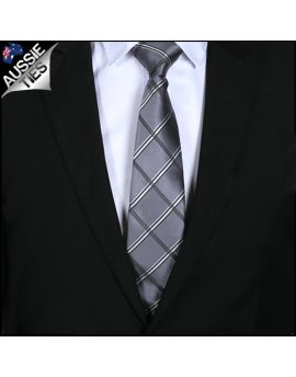 Silver Plaid Mens Tie