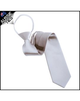 Mens Light Silver 5cm Zipper Tie