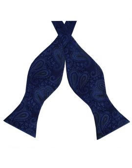 Midnight Blue Paisley Self Tie Bow Tie