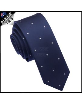Midnight Blue Pin Dot Mens Skinny Necktie