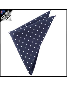 Midnight Blue Polka Dot Pocket Square Handkerchief
