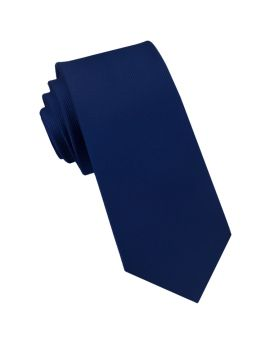 Midnight Blue Ribbed 6cm Mens Slim Tie
