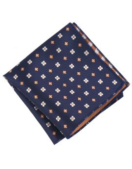 Midnight Blue With Floral Pattern Pocket Square