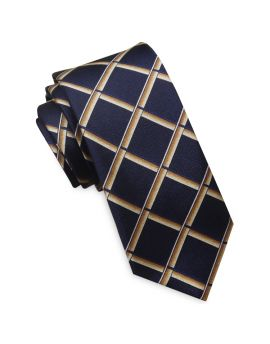 Midnight Blue with Gold Piping Mens Skinny Tie