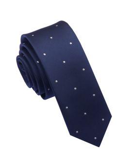 Midnight Blue Pin Dot Mens Skinny Tie