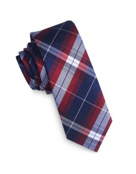 Midnight, Red & Grey Plaid Skinny Tie