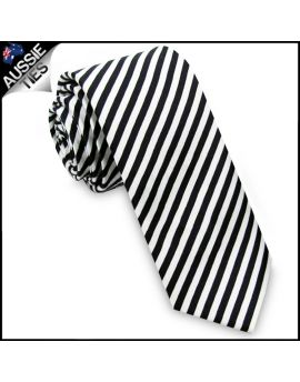 Narrow Black & White Stripes Skinny Tie