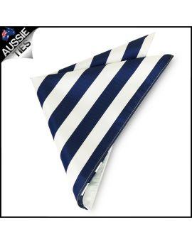 Mens Navy Blue & White Striped Pocket Square Handkerchief