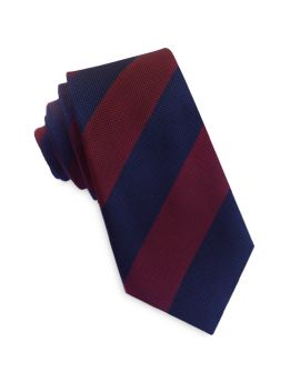Navy and Dark Red Stripes Slim Tie