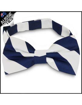 Mens Navy Blue & White Stripes Bow Tie