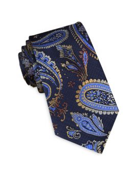 Navy Blue & Gold Paisley Slim Tie