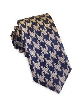 Navy Blue & Tan Houndstooth Slim Tie